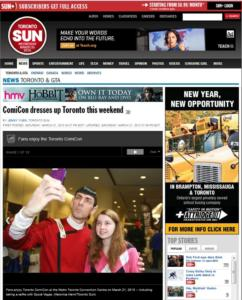 Toronto SUN PHOTO. Front page, online edition.